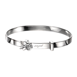 Engravable Diamond Angel Baby Bangle Bracelet for Girls - Sterling Silver - Adjustable Angel Bangle Bracelet - Baby, Toddler /