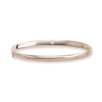 "Fine Toddler Bracelets - 14K Yellow Gold Baby, Toddler Bangle Bracelet with One Genuine Diamond - Size 5.25"" - BEST SELLER"