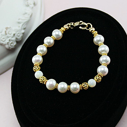 Exquisite Josephine™ by My First Pearls® Baby Bracelet - 22K yellow gold – Grow-With-Me® designer original freshwater cultured pearl baby bracelet – Personalize with gemstones & charm/
