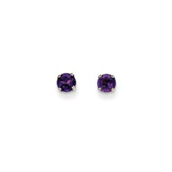 February Birthstone 14K White Gold Earrings for Tweens, Teens, and Women - 4mm Genuine Amethyst Gemstone - Push back posts/