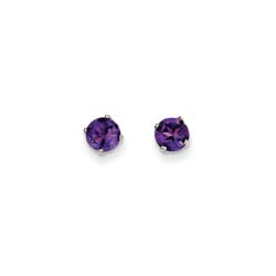February Birthstone 14K White Gold Earrings for Tweens, Teens, and Women - 5mm Genuine Amethyst Gemstone - Push back posts/