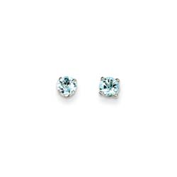 March Birthstone 14K White Gold Earrings for Tweens, Teens, and Women - 4mm Genuine Aquamarine Gemstone - Push back posts/