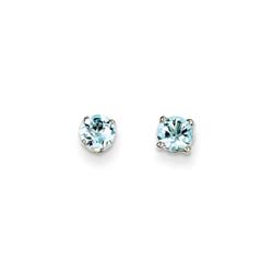 March Birthstone 14K White Gold Earrings for Tweens, Teens, and Women - 5mm Genuine Aquamarine Gemstone - Push back posts/