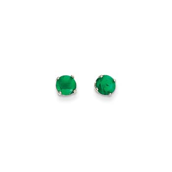 May Birthstone 14K White Gold Earrings for Tweens, Teens, and Women - 5mm Genuine Emerald Gemstone - Push back posts