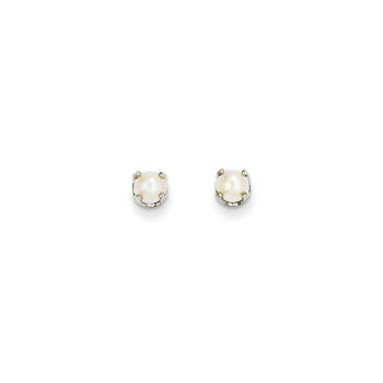 June Birthstone 14K White Gold Earrings for Tweens, Teens, and Women - 4mm Freshwater Cultured Pearl Gemstone - Push back posts