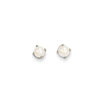 June Birthstone 14K White Gold Earrings for Tweens, Teens, and Women - 5mm Freshwater Cultured Pearl Gemstone - Push back posts