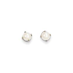 June Birthstone 14K White Gold Earrings for Tweens, Teens, and Women - 5mm Freshwater Cultured Pearl Gemstone - Push back posts/