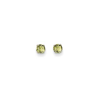 August Birthstone 14K White Gold Earrings for Tweens, Teens, and Women - 4mm Genuine Peridot Gemstone - Push back posts