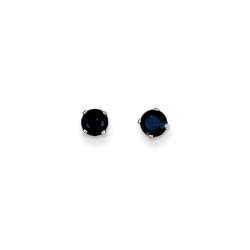 September Birthstone 14K White Gold Earrings for Tweens, Teens, and Women - 4mm Genuine Blue Sapphire Gemstone - Push back posts/