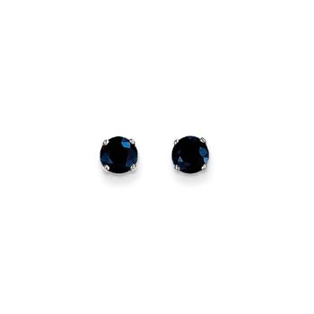 September Birthstone 14K White Gold Earrings for Tweens, Teens, and Women - 5mm Genuine Blue Sapphire Gemstone - Push back posts