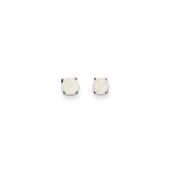 October Birthstone 14K White Gold Earrings for Tweens, Teens, and Women - 4mm Genuine Opal Gemstone - Push back posts/