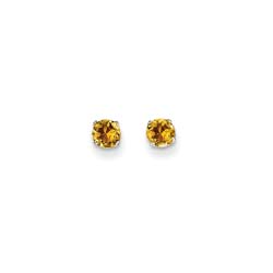 November Birthstone 14K White Gold Earrings for Tweens, Teens, and Women - 4mm Genuine Citrine Gemstone - Push back posts/