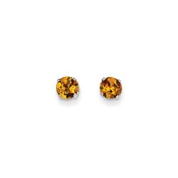 November Birthstone 14K White Gold Earrings for Tweens, Teens, and Women - 5mm Genuine Citrine Gemstone - Push back posts/