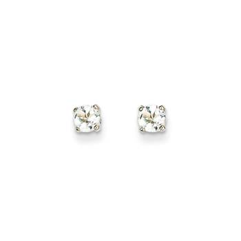 April Birthstone 14K White Gold Earrings for Tweens, Teens, and Women - 5mm Genuine White Topaz Gemstone - Push back posts
