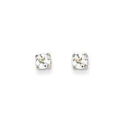 April Birthstone 14K White Gold Earrings for Tweens, Teens, and Women - 5mm Genuine White Topaz Gemstone - Push back posts/