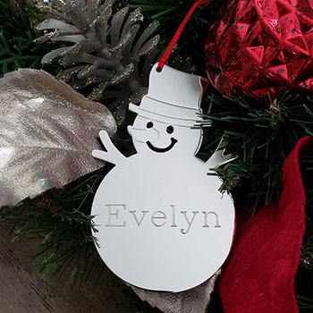 Kid's Favorite - Silver Snowman Personalized Ornament - Engravable on front and back - BEST SELLER