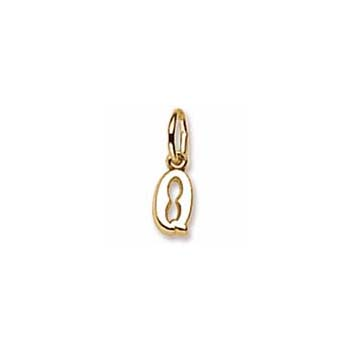Rembrandt 14K Yellow Gold Tiny Initial Q Charm – Add to a bracelet or necklace