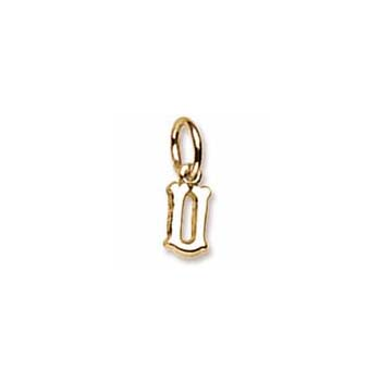 Rembrandt 14K Yellow Gold Tiny Initial U Charm – Add to a bracelet or necklace