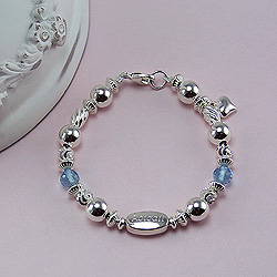 Abigail's Treasure™ Sterling Silver Baby Bracelet – Grow-With-Me® designer original engravable girl's silver baby bracelet – Personalize with gemstones & charms/