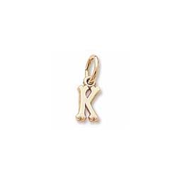 Rembrandt 10K Yellow Gold Tiny Initial K Charm – Add to a bracelet or necklace/