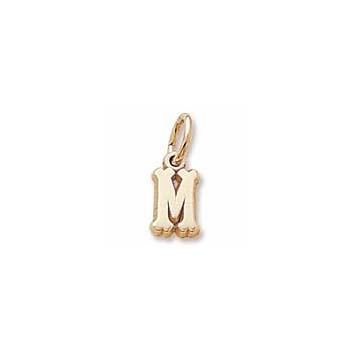 Rembrandt 10K Yellow Gold Tiny Initial M Charm – Add to a bracelet or necklace