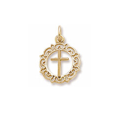 Rembrandt 10K Yellow Gold Round Decorative Cross Charm – Add to a bracelet or necklace/