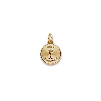 Keepsake Holy Communion Gifts - Rembrandt 14K Yellow Gold Holy Communion Charm (Small) – Engravable on back - Add to a bracelet or necklace - BEST SELLER