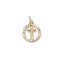 Rembrandt 10K Yellow Gold Tiny Cross Charm with Diamond-Cut with Round Border – Add to a bracelet or necklace/
