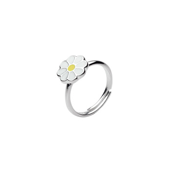 Little Girls Daisy Ring - Sterling Silver - Size 3 1/2 adjustable to size 6 - BEST SELLER