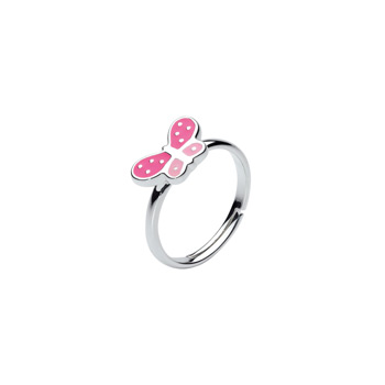 Little Girls Pink and White Polka Dotted Butterfly Ring - Sterling Silver - Size 3 1/2 adjustable to size 6 - BEST SELLER