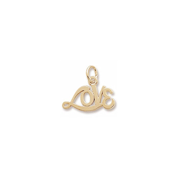 Rembrandt 10K Yellow Gold Medium Love Word Charm – Add to a bracelet or necklace