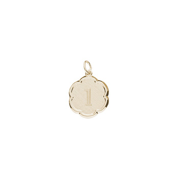 1st Birthday Gift Keepsake Charm for Girls and Boys - 10K Yellow Gold