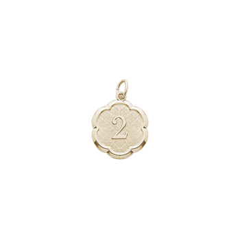 Age 2 Toddler Years - Second Birthday Keepsake Charm -  10K Yellow Gold Small Round Rembrandt Charm – Engravable on back - Add to a bracelet or necklace