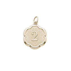 Age 2 Toddler Years - Second Birthday Keepsake Charm -  10K Yellow Gold Small Round Rembrandt Charm – Engravable on back - Add to a bracelet or necklace /