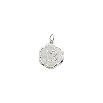 Age 13 Teen Years - Thirteenth Birthday Keepsake Charm - 14K White Gold Small Round Rembrandt Charm – Engravable on back - Add to a bracelet or necklace