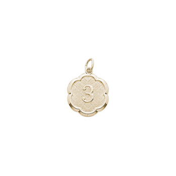 Age 3 Toddler Years - Third Birthday Keepsake Charm - 14K Yellow Gold Small Round Rembrandt Charm – Engravable on back - Add to a bracelet or necklace