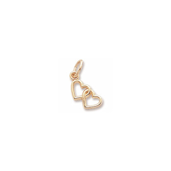 Rembrandt 10K Yellow Gold Tiny Double Heart Charm – Add to a bracelet or necklace