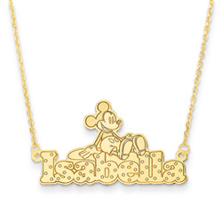 Disney Mickey Mouse 14K Yellow Gold Name Necklace - Nameplate and 14