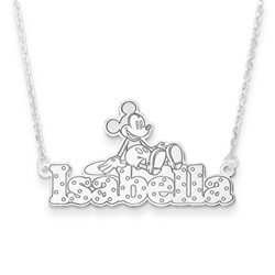 Disney Mickey Mouse Sterling Silver Rhodium Name Necklace - .92mm Double Gauge Nameplate and 1.50mm 14