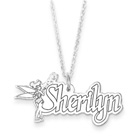 Disney Tinker Bell Sterling Silver Rhodium Name Necklace - .92mm Double Gauge Nameplate Only - Chain not included - BEST SELLER