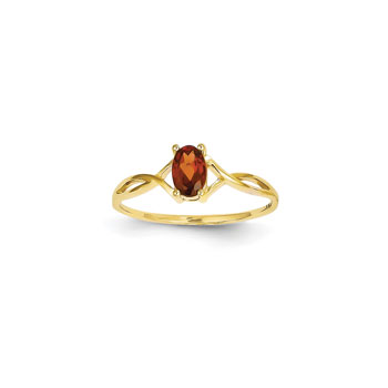 Girl's Birthstone Rings - 14K Yellow Gold Girls Genuine Garnet Birthstone Ring - Size 5 1/2 - Perfect for Grade School Girls, Tweens, or Teens