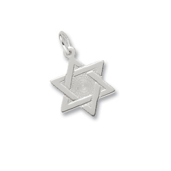 Rembrandt Sterling Silver Star of David Charm – Engravable on back - Add to a bracelet or necklace/