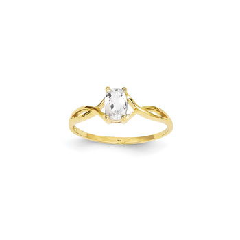 Girl's Birthstone Rings - 14K Yellow Gold Girls Genuine White Topaz Birthstone Ring - Size 5 - Perfect for Grade School Girls, Tweens, or Teens