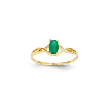 Girl's Birthstone Rings - 14K Yellow Gold Girls Genuine Emerald Birthstone Ring - Size 5 - Perfect for Grade School Girls, Tweens, or Teens
