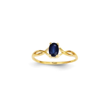 Girl's Birthstone Rings - 14K Yellow Gold Girls Genuine Blue Sapphire Birthstone Ring - Size 5 - Perfect for Grade School Girls, Tweens, or Teens