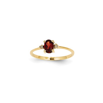 Girls Diamond Birthstone Ring - Genuine Garnet Birthstone with Diamond Accents - 14K Yellow Gold - Size 4 - BEST SELLER