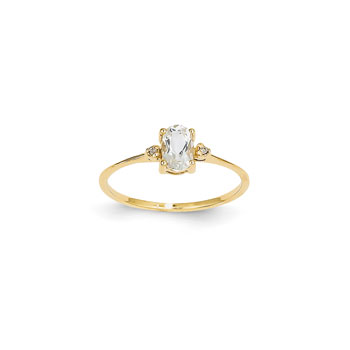 Girls Diamond Birthstone Ring - Genuine White Topaz Birthstone with Diamond Accents - 14K Yellow Gold - Size 4 - BEST SELLER
