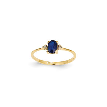 Girls Diamond Birthstone Ring - Genuine Blue Sapphire Birthstone with Diamond Accents - 14K Yellow Gold - Size 4