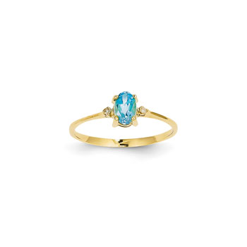 Girls Diamond Birthstone Ring - Genuine Blue Topaz Birthstone with Diamond Accents - 14K Yellow Gold - Size 4 - BEST SELLER
