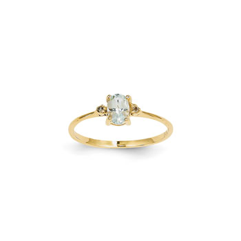 Girls Diamond Birthstone Ring - Genuine Aquamarine Birthstone with Diamond Accents - 14K Yellow Gold - Size 5 - BEST SELLER